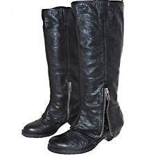 ASH Time Black Pebbled Boho Leather Zippered Cuff Equestrian Boots 7.5M EURO38