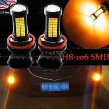 2pcs H11 H8 Yellow 106SMD Auto LED Bulbs  For Car truck Fog Lights Lamp