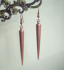 Antique Red Copper Spike Long Dangly Drop Earrings ~ Vintage Steampunk Goth Rock