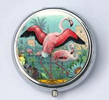 Pink Flamingos pillbox pill case box holder vintage illustration birds nature pr