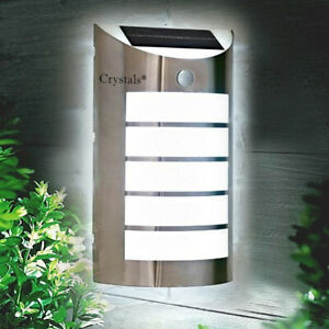 PIR Motion LED Security Light Wall Mounted Stainless Steel Solar Powered