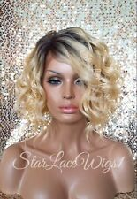 Lace Front Wig Human Hair Blend Bob Golden Blonde Dark Roots Wavy Heat Safe Ok