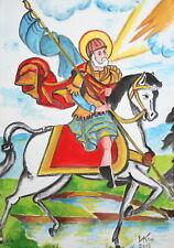 Saint Menas religious gouache painting signed  FREE SHIPPING