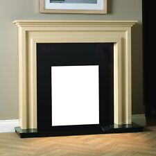 ELECTRIC BLACK MODERN WALL TRADITIONAL FIRE SURROUND FIREPLACE SUITE -Made in UK
