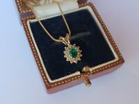 9ct Emerald and Diamond Cluster Pendant Necklace