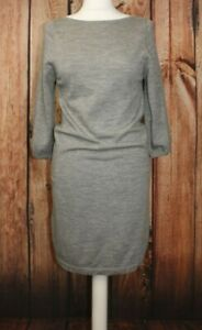 Uniqlo Dress Ladies Knitwear Sweater Dress Tunic Grey 100% Merino Wool S / Small