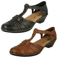 Ladies Clarks Contour Wedge T-bar Leather Closed Toe Sandal Shoes - Wendy Alto UK 5 Tan (brown) D