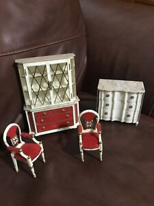 Vintage Miniature Doll Furniture Hutch Chairs Chest By Ideal