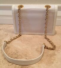 STUART WEITZMAN Cream Winter White Leather Patent Gold Chain Bag Purse Spain NEW