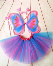 Fairy Butterfly Pixie Costume Party Tutu Skirt Headband  Wings Wand Set 4-10Y