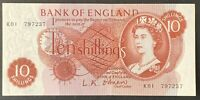 Bank of England. Ten Shillings. B286. O'Brien. K01 797237. Uncirculated. (BN108)