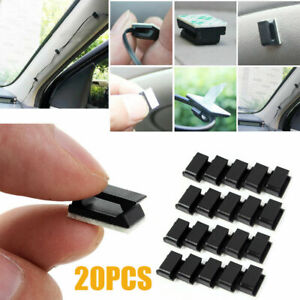 20Pcs Cable Self Adhesive Clips Wire Holder Drop Tie Cord Pack Car Organizer