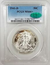 1941 D Walking Liberty Half Dollar, MS 66 PLUS by PCGS and CAC! NO RESERVE!