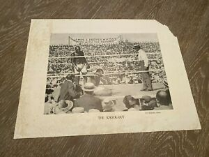 Johnson Jeffries Fight Boxing 1910 James Pepper Whisky Paper Photo The Knock-Out