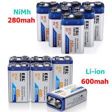 EBL 280mAh 9V NIMH Battery / 600mAh 9-Volt Li-ion Rechargeable Batteries 6F22