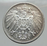 1915 WILHELM II of GERMANY 1 Mark Antique German Empire Silver Coin Eagle i64421
