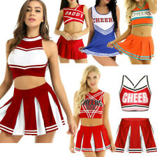 Women's Cheerleader Uniform School Girl Fancy Dress Costume Outfit Cosplay Skirt