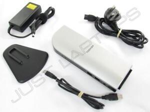 Toshiba Dynadock U10 Port Réplicateur Dock Station W/VGA & DVI Inc AC Adaptateur