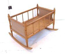 Vintage Wooden Rocking Toy Baby Doll Crib Cradle Wood Display Pretend Play 70s
