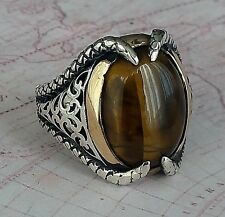 Turkish Ottoman Claw  Style Tiger Eye Stone 925 K Sterling Silver Mens Ring 15gr