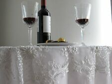 White Square Handmade 100% Polyester Tablecloth Embroidered with Beads 36""