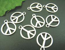LOT de 10 PENDENTIFS perles breloque ARGENTE PEACE & LOVE rond création bijoux