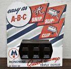 VINTAGE NOS 1950's GENERAL ELECTRIC BAKELITE MONOWATT QUICK CLAMP TRIPLE OUTLET