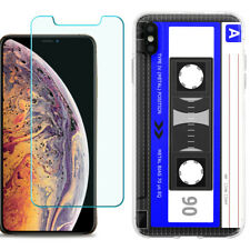 TPU Case for Apple iPhone Xs Max w/ Tempered Glass - Cassette Blue