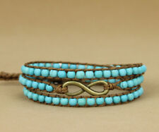 Crystal Bead Turquoise Bracelet Wrap Surfer Beach Blue Chakra Leather Infinity