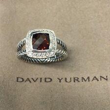 DAVID YURMAN SILVER 925 PETITE ALBION 7MM GARNET DIAMOND RING SZ 6.5