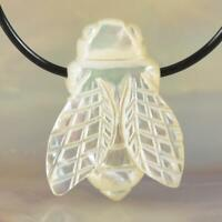 Lustrous White Mother-of-Pearl Shell Carving Honey Bee Focal Bead Pendant 2.24 g
