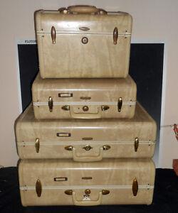 4 Piece Samsonite Luggage Set 1960's 2 Tone Marble Tan