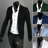 Stylish Men's Casual Slim Fit One Button Suit Blazer Coat Jacket Business Tops
