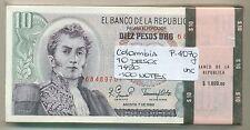 COLOMBIA BUNDLE 100 NOTES 10 PESOS 1980 P 407g UNC