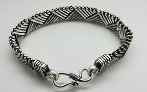 1 Piece Silver Bracelets Braided Chain Bali Silver Chain Bracelet 20 cm Long