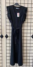 OASIS 2020 SEASON NEW Black Linen Frill Belted Shirt Dress Size 6 - 26 RRP=£56