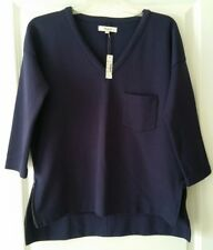 NWT Madewell Hi-Lo Tunic 3/4  Sleeves Zippers Sides Solid Navy $72 Size M