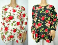 Women's Floral Printed Woven Knit Long Sleeve Keyhole Blouse Top Size XS~3X