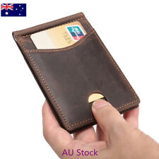 AU STOCK Mens Thin Bifold Money Clip Leather Wallet ID Credit Card RFID Pocket