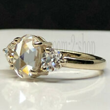 1.55 CT Oval Rose Cut Off White Moissanite Engagement Ring 10k Yellow Gold Fn  7