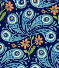 Azuli Peacock Feathers Blue Quilt Fabric - 1 Yard
