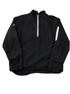 Callaway Sz M Pull Over 1/4 Zip Golf Jacket Pocket On Sleeve Mens Black