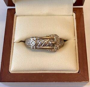 "'9ct Yellow Gold & Diamond Belt Buckle Ring"""