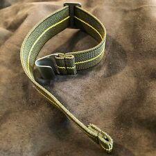 New No Pass, Diver Elastic Watch Strap Band Belt - Army Green with Yellow - 22mm