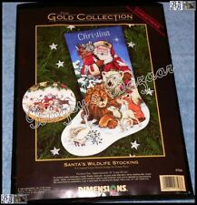 Dimensions Gold SANTA'S WILDLIFE STOCKING Counted Cross Stitch Christmas Kit USA
