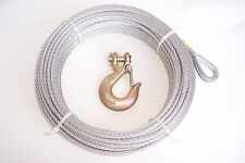 """1/4"""" x 50 ft Galvanized Wire Rope Winch Cable + 5/16"""" Grade 70 Clevis Slip Hook"""