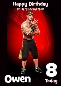 Personalised Birthday card WWE any name/age/relation