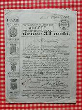 Aout 1866 - Grandes loteries autorisées - prospectus - deux types différents