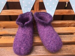 Hand Knitted Felted Scandinavian Style Hygge Boot Slippers Size  4