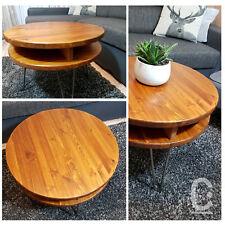 Rustic Vintage Industrial Loft Wood Round Coffee Table Metal Hairpin Legs